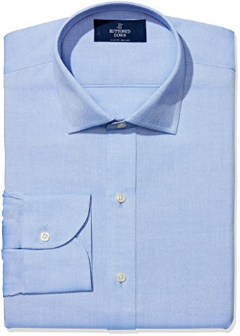 "Buttoned Down Men's Slim Fit Spread-Collar Non-Iron Dress Shirt, Blue, 15.5"" Neck 35"" Sleeve"