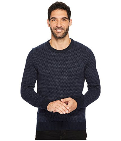 Perry Ellis Men's Herringbone Crew Neck Sweater, Dark Sapphire, Medium