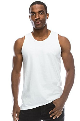 Mens Hipster Hip Hop Basic Casual Solid WHITE Tank Top 3XL