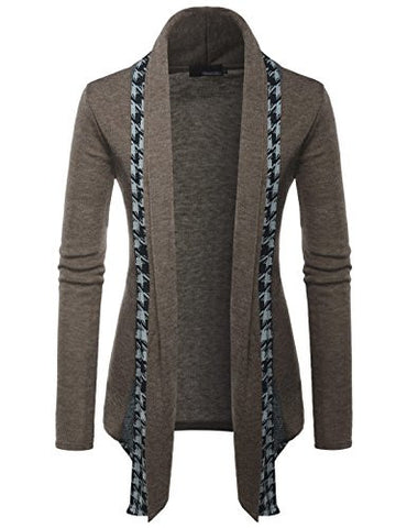 (GD92) Slim Fit Hound tooth Check Open Front Shawl Collar Stylish Wool Cardigan BROWN US L(Tag size 2XL)