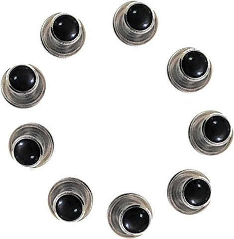 5 Black Studs with Silver Trimming for Tuxedo Shirt By Broadway Tuxmakers