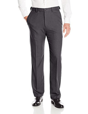 Haggar Men's Cool 18 Pro Classic Fit Flat Front Expandable Waist Pant, Charcoal Heather, 42Wx29L