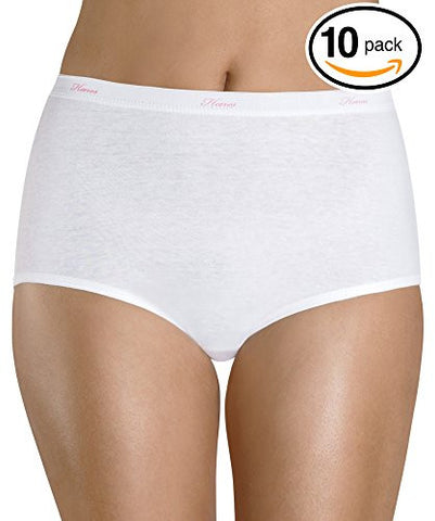Hanes Women's Cotton Brief Panties (Pack of 10) (8, White)