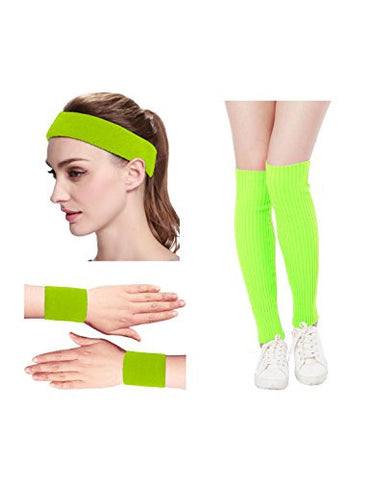 Kimberly's Knit Women 80s Neon Pink Running Headband Wristbands Leg Warmers Set (Free, BrightYellow)