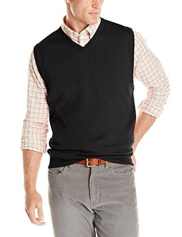 Cutter & Buck Men's Douglas V-Neck Sweater Vest, Black, X-large