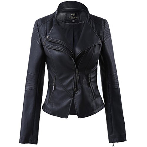 LLF Women's Faux Leather Stand-up Collar Moto Biker Short Jacket Medium Black