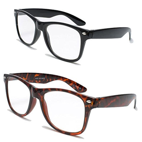 2 Pairs Deluxe Wayfarer Style Reading Glasses - Comfortable Stylish Simple Readers Rx Magnification (1 tortoise 1 black, 1.25 x)