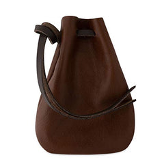 Leather Drawstring Pouch, Coin Bag, Medicine Tobacco Pouch Medieval Reenactment Size Made in U.S.A. by Nabob Leather (Brown, Medium)
