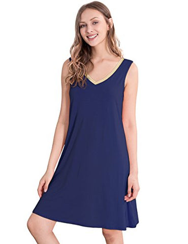 GYS Womens Bamboo Viscose Sleeveless V Neck Nightgown (L,Navy Blue)