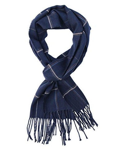 Saferin Men Winter Plaid Soft Elegant Cashmere Feel Wrap Scarf (Navy)