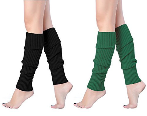 V28 Women Juniors 80s Eighty's Ribbed Leg Warmers for Party Sports (one size, 2 pack(Black+Deepgreen))
