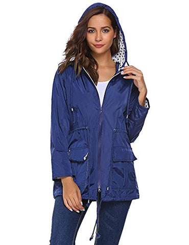 Unibelle Waterproof Lightweight Rain Jacket Active Outdoor Hooded Raincoat for Women