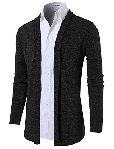 H2H Mens Slim Fit Shawl Collar Cardigan without Buttons BLACK US S/Asia M (KMOCAL099)