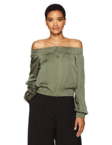 BCBGMAXAZRIA Women's Marco Off the Shoulder Woven Bomber Jacket, Olive, M