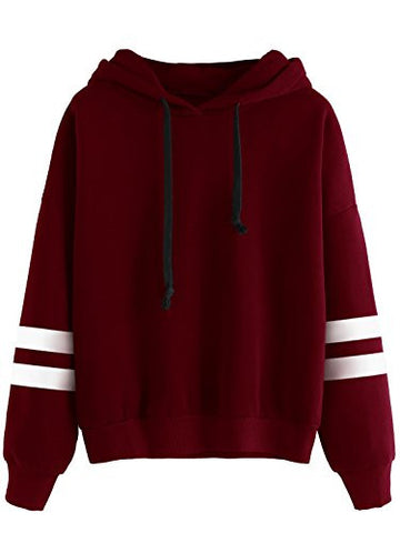 SweatyRocks Sweatshirt Girls Pullover Fleece Drop Shoulder Striped Hoodie For Girl, Burgundy, One Size