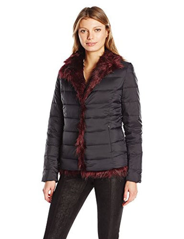 Betsey Johnson Women's Light Weight Puffer To Faux Fur Reversible Jkt, Black/Red, M