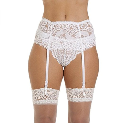 Sensphi Women's Lace Garter Belt and Stocking Sets (White)
