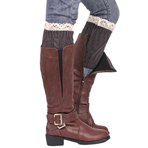 WILLTOO 2015 Women Leg Warmer Knit Boot Socks Topper Cuff (Winter-Dark Grey)
