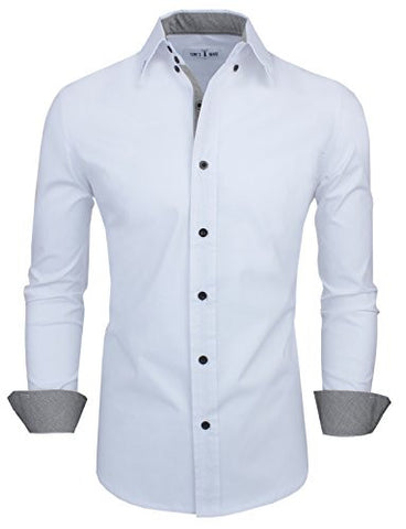 Tom's Ware Mens Classic Slim Fit Contrast Inner Long Sleeve Dress Shirts TWNMS314-1-317-WHITE-US XL