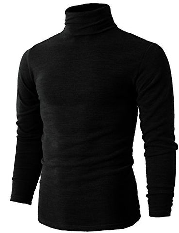 H2H Mens Basic Long Sleeve Cotton Knit Turtleneck Sweater BLACK US 2XL/Asia 5XL (KMTTL028)