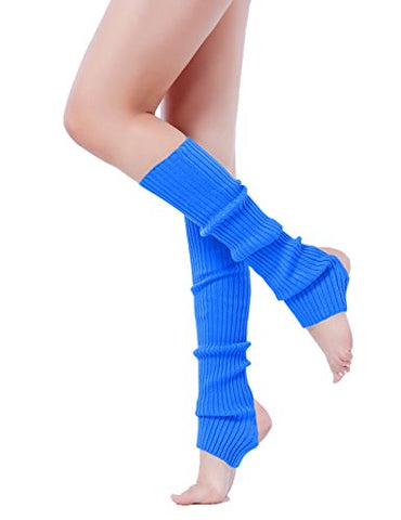 Leg Warmer, V28 Women Ladies Girl Fashion Warm Winter Ribbed Cable Knit Crochet (uphole-blue)