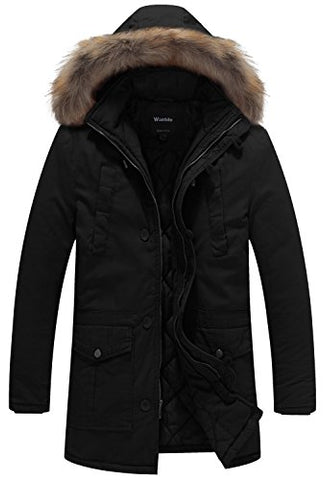 Wantdo Men's Winter Thicken Cotton Jacket With Fur Hood US Medium Black