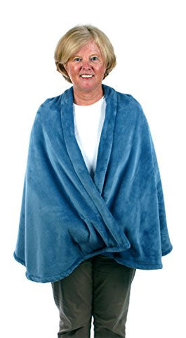 Granny Jo Products – Warm Fleece Cape - Blue Fleece – Warm Fleece – Fleece with Pockets - Large - XL