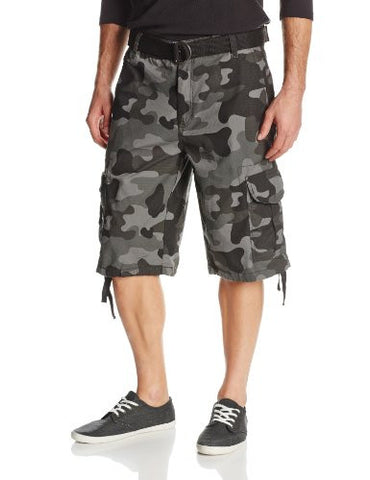 Southpole Men's Belted Ripstop Camo Cargo Shorts with Washing and 13.5 Inch Length All Season, Grey Black, 38