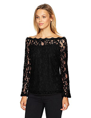 Adrianna Papell Women's 3/4 Bell Sleeve Lace Blouse Slightly Off the Shoulder, Black, SMALL