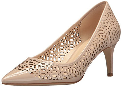 Nine West Women's Shavar Patent Dress Pump, Natural, 12 M US