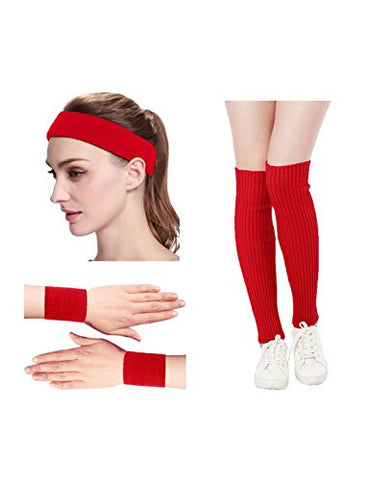 Kimberly's Knit Women 80s Neon Pink Running Headband Wristbands Leg Warmers Set (Free, Red)