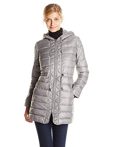 Kenneth Cole Women's Lightweight Packable Faux Down Jacket with Cinch Waist, Nickel, Large