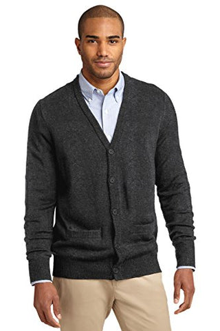 Port Authority Men's Value V Neck Cardigan Sweater with Pockets M Charcoal Grey