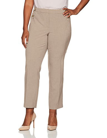 Calvin Klein Women's Plus Size Straight Pant with Buckle and Zip, Latte, 20W