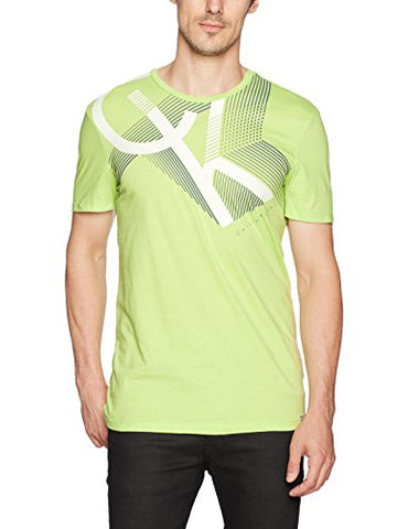 Calvin Klein Men's Short Sleeve Logo Line Print Crew Neck T-Shirt, Cactus Pear, LARGE