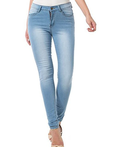 Women's Stretchy 5 Pocket Dark Denim Skinny Jeans (28, Light Blue 1)