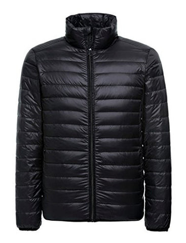 ZSHOW Men's Ultra Light Packable Down Puffer Jacket(Black,Medium)