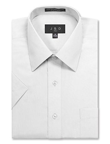 JD Apparel Men's Regular Fit Short Sleeve Dress Shirts 19-19.5N 3XL White