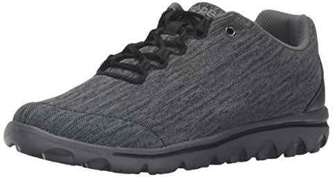 Propet Women's Travelactiv Oxford, Black/Grey Heather, 9 4E US