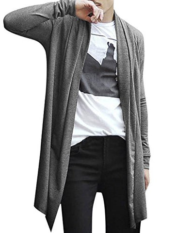 Allegra K Men Shawl Collar Pockets Long Sleeve Casual Long Cardigan Gray L