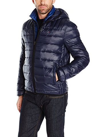 Tommy Hilfiger Men's Nylon Puffer Jacket, Midnight, Small