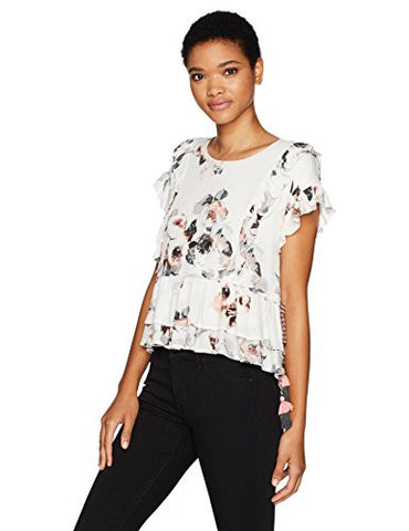 Moon River Women's Short Sleeve Floral Printed Top with Ruffles, White/Multi, Medium