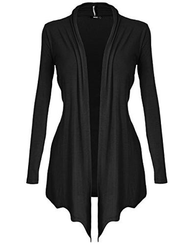 [DRSKIN] Women's Open - Front Long Sleeve Knit Cardigan (L, Black)
