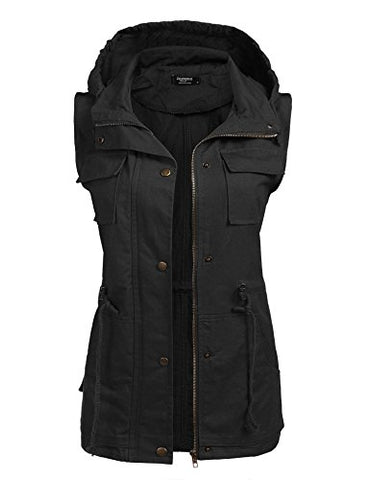 Beyove Women's Lightweight Sleeveless Military Anorak Vest,Black 1,Medium