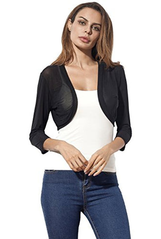 Tandisk Women's 3/4 Sleeve Bolero Sheer Chiffon Shrug Cardigan Black XXXL