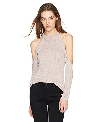 Guess Women's Long Sleeve Sera Lurex Cold Shldr Sweater, Shadow Grey/Multi, S