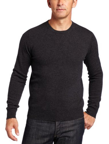 Williams Cashmere Men's 100% Cashmere  Long Sleeve Crew Neck Sweater, Charcoal, Large