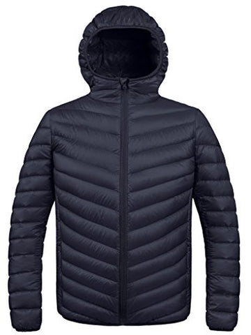 ZSHOW Men's Winter Hooded Packable Down Jacket(Black,X-Large)
