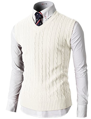 H2H Mens Casual Knitted Slim Fit V-neck Vest With Twisted Patterned IVORY US XL/Asia 2XL (KMOV037)
