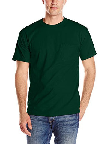 Hanes Men's Short Sleeve Beefy-T with Pocket, Deep Forest, Large